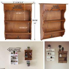Retro Wandschrank Küchenregal Wandboard Wandregal Handtuchhaken Wandablage Antik