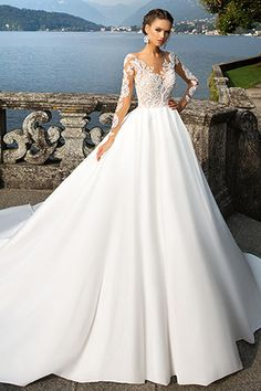 Attractive Tulle & Satin Bateau Neckline A-Line Wedding Dresses With Lace Appliques