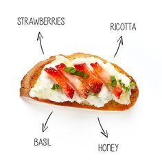 Strawberry, Ricotta, Honey and Basil Crostini #BiteMeMore