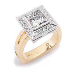 Majestic Collection - 1.60ct Princess Cut Diamond surrounded by Round Brilliant Cut Diamonds set in 18K White and Yellow Gold.