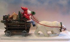 Vintage-style santa~Lg. Polar bear~wooden Cart~celluloid cow by: Jean Littlejohn