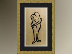 Fine Art Valentine / 6 x 12 Professional Fine Art Print / Couple As One Antiqued Ink Drawing.     $20.00, via Etsy.  #valentine #etsy #ashleygrebe