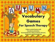 Autumn Speech Vocabulary Games: Fall Back to School, Hallo