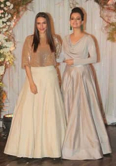 Bipasha Basu and Karan Singh Grover's Monkey Wedding and A Star-Studded Reception Designer Party Wear Dresses, Kurti Designs Party Wear, Lehenga Designs, Dress Designs, Indian Skirt, Dress Indian Style, Indian Gowns Dresses, Pakistani Dresses, Girls Dresses
