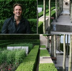 """Luciano Giubbilei in his Chelsea award winning garden. Often described as the """"Armani of garden design"""".  Elements: extremely well groomed boxwood, calamagrostis grases. Muscular tree bark, gently lapping water, tiny explosions of small perennials."""