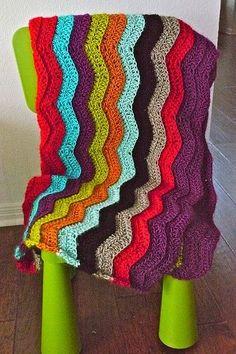 Love this layered chevron pattern crochet afghan