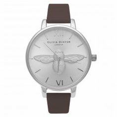 Olivia Burton Womens Brown & Silver Animal Motif Moulded Bee Watch