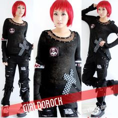 PUNK-NANA-Kera-GOTHIC-DOLLY-71158-Blk-CROSS-Sweater-TOP-S-L