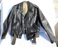 Vintage Mens Leather Motorcycle Jacket by SANDJCRAFTSANDTHINGS
