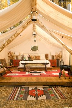 Beautiful tent interior. Glamping