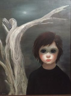 Untitled Waif Under The Night Sky 1961 29x20 (Big Eyes) by Margaret D. H. Keane