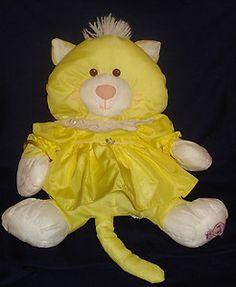 "Puffalump Fisher Price 1986 Yellow Kitty Cat Plush Stuffed Animal Nylon 15"" Toy"