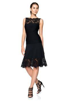 Pintuck Jersey and Lace A-Line Dress   Tadashi Shoji $268