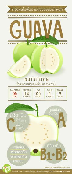 ฝรั่งเป็นผลไม้ที่อุดมด้วยวิตามิน โดยเฉพาะวิตามินซี และวิตามิน เอ นั้น มีมากกว่ามะนาวถึง 4 เท่า ทำให้ฝรั่งมีคุณค่าในการสร้างความต้านทานโรคหวัดได้เป็นอย่างดี Health Diet, Health And Wellness, Health Fitness, Healthy Menu, Healthy Tips, Guava Nutrition, Fruit Shakes, Diet Menu, Medicinal Plants