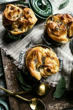 Autumn chicken and phyllo dough pot pies. Comfort food for the winter.