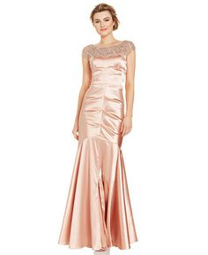 Xscape Petite Cap-Sleeve Beaded Mermaid Gown - Dresses - Women - Macy's