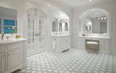 Mirrored french closet doors master bath 37 Ideas for 2019 Bathroom Vanity Stool, Bathroom Cabinets, Bathroom Design Inspiration, Bathroom Interior Design, Design Ideas, Country Style Bathrooms, French Closet Doors, Traditional Bathroom, Bathroom Styling
