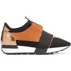 Balenciaga Race Runner Leather and Fabric Sneakers (£515) ❤ liked on Polyvore featuring shoes, sneakers, brown sneakers, black leather shoes, balenciaga shoes, kohl shoes and leather trainers