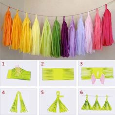 diy tissue paper tassel garland party wedding decoration Tassle Bunting diy tissue paper t Diy Tassel Garland, Diy Party Garland, How To Make Tassle Garland, Birthday Garland, Tissue Garland, Diy Party Tassels, Tassles Diy, Diy Party Bunting, Happy Birthday Decor