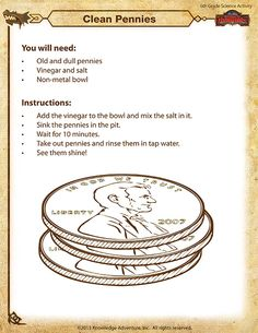 Clean Pennies - Printable Science Activity