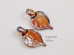 $18  Aurea Golden Leaves - Handmade Lampwork Glass Beads BASTILLE BLEU - sra Silver Glass Gold Metallic