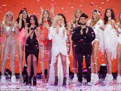 Scantily clad set: Selena Gomez, Ellie Goulding, and The Weeknd joined the Angels onstage to perform for the CBS telecast, which airs December 8