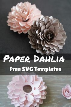 Cricut paper flower tutorial with fee SVG cut file templates Rolled Paper Flowers, Large Paper Flowers, Tissue Paper Flowers, Paper Flower Wall, Paper Roses, How To Make Paper Flowers, 3d Cuts, Paper Flower Tutorial, Large Paper Flower Template