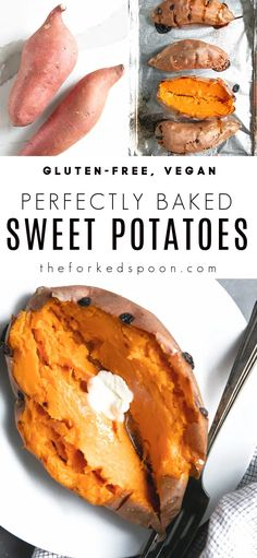 Perfectly Baked Sweet Potatoes have a deliciously soft, sweet, and fluffy inside with a crispy flavorful outside. Learn how to bake sweet potatoes using my foolproof method and enjoy yours served sweet or savory, as an easy dinner, side dish, or as a light lunch - they're perfect for every occasion! Side Dishes For Ribs, Dinner Side Dishes, Perfect Baked Sweet Potato, Sweet Potato Recipes, Easy Healthy Recipes, Free Recipes, Vegan Baking, Food And Drink, Potatoes