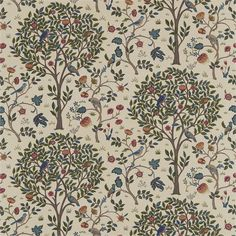 Morris and Co Kelmscott Tree 220328 (Forest/Gold) fabric from the Morris Archive Prints collection, priced per metre. Kelmscott Tree has been painted by Alison Gee in the Morris studio and depicts a large tree surrounded by birds and flowers Craftsman Fabric, Craftsman Wallpaper, Painted Rug, Made To Measure Curtains, Bird Tree, Gold Fabric, Tree Forest, Motif Floral, Arts And Crafts Movement