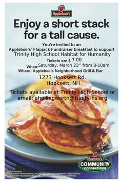 pancake breakfast at applebees in hooksett sat march 23 from 8am to 10am organized
