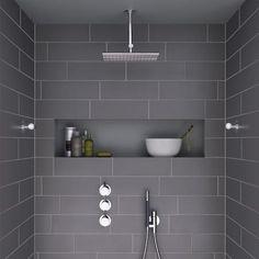 i like the shape – horizontal and roomy – of this shower niche … Ich mag die Form – horizontal und geräumig – dieser Duschnische Mehr Grey Bathroom Tiles, Bathroom Renos, Laundry In Bathroom, Basement Bathroom, Master Bathroom, Bathroom Ideas, Master Shower, Bathroom Niche, Bathroom Designs