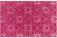 Esmae Rug, Hot Pink Geometric Pattern  -- Crafted of premium New Zealand wool, this rug instantly awakens any space with its dynamic design and hot pink hue. We recommended using a rug pad to extend the life of the rug and keep it securely in place.