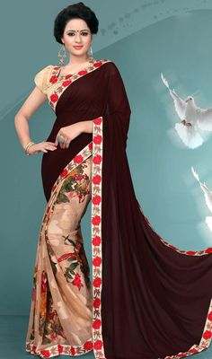Flaunt a dashing glamour in this brown and beige color silk printed half n half sari. The stunning block print and lace work a substantial attribute of this attire. #ethnicdesignsaree #sarees #blockprintsari