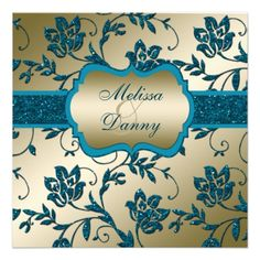 Gold and Teal FAUX Glitter Floral Engagement Party Personalized Invitations