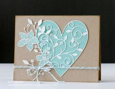 hand crafted  heart card by Pam Sparks ...  Memory Box die cuts in white with aqua fill  ... kraft background ... wonderful card!