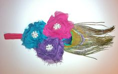 Peacock HeadbandShabby flower with Peacock Feather by Littlezozo, $12.00