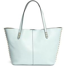 Rebecca Minkoff 'Unlined' stud trim leather tote (40900 RSD) ❤ liked on Polyvore featuring bags, handbags, tote bags, blue, leather purse, green leather handbag, green leather tote, leather handbags and leather tote