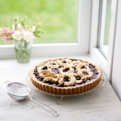 A rich, crumbly pastry encased with juicy blueberries and blackcurrant jam. Find the recipe on the Waitrose website. Jam Recipes, Fruit Recipes, Hazelnut Torte Recipe, Chocolate Torte, Digestive Biscuits, Sweet Tarts, Food To Make, Blueberry, Bakery
