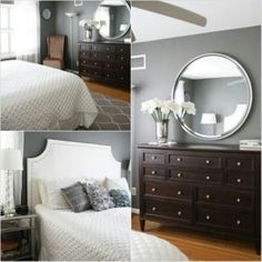 benjamin moore amherst gray and kendall charcoal are the best dark gray paint colours. Shown here in bedroom with wood flooring and dark furniture