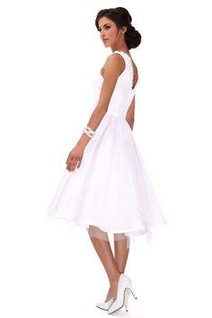 Robe de mariée longue blanche coupe patineuse tulle et plumetis (Pièce unique Made in France) : Profil