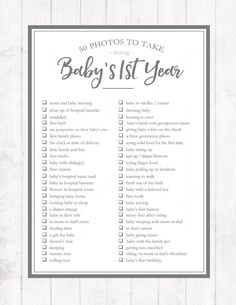 Of all the milestones we capture in our children's lives, none are quite as precious as the ones we document during their first year of life. Don't miss a single moment with this printable 50 Photos to Take During Baby's First Year checklist.