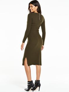 V by Very Zip Back Knitted Bodycon Dress  Sleek styles come to your knitwear edit in AW16 - this zip back knitted bodycon dress from V by Very is all the proof you need! Its ribbed knit hugs your curves in comfort for a flattering and fuss-free fit, while the long sleeves and knee-skimming length are layering essentials!  Styling Ideas Try swapping your plimsolls for ankle boots for an effortless day-to-dark switch up. Washing Instructions: Machine WashableWomens Knitwear Style: TunicWomens…