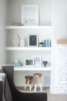 7 Creative and Modern Tips and Tricks: Black Floating Shelves Kitchen white floating shelves with lights. Black Floating Shelves, Floating Shelves Bedroom, Floating Shelves Kitchen, Rustic Floating Shelves, Glass Shelves, Floating Shelves By Fireplace, Wall Shelves, Build Shelves, Floating Bookshelves