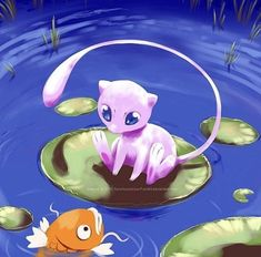 Mew is such an adorable pokemon, especially in mew fan art paintings! definitely one of the cutest original 151 pokemon! And I love the cute little magikarp 😍 Pokemon Mew, Pokemon Fan Art, Mew And Mewtwo, Pokemon Backgrounds, Cool Pokemon Wallpapers, Cute Pokemon Wallpaper, Original 151 Pokemon, Mermaid Gifs, Pokemon Painting