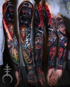 Amazing Star Wars Tattoo Sleeve by Moriel El Mori Star Wars Tattoo, Sith Tattoo, Darth Maul Tattoo, Tatoo Star, War Tattoo, Batman Tattoo, Body Art Tattoos, Sleeve Tattoos, Cool Tattoos