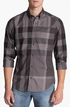 Free shipping and returns on Burberry Brit 'Fred' Trim Fit Sport Shirt at Nordstrom.com. Bold, oversized checks define a cool sport shirt cut from pure cotton with a slim button-down collar and single-button cuffs.