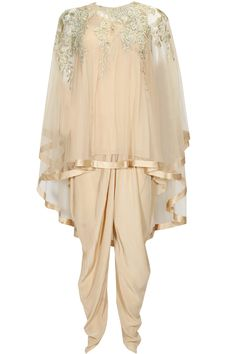 GAURAV GUPTA Old rose thread embroidered asymmetic cape kurta set available only at Pernia's Pop Up Shop.