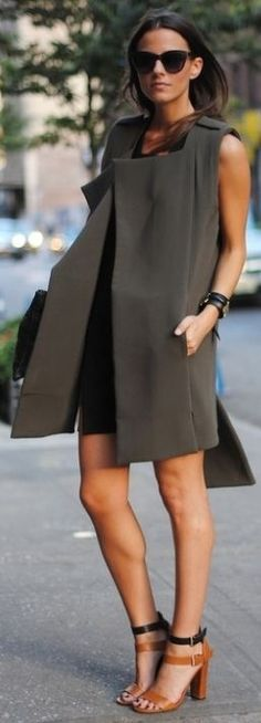 This is a really strong outfit. Long sleeveless jacket over simple dress. #work wear. #summer. via #thedailystyle