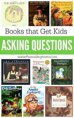 This book list for asking questions includes picture books and chapter books that will compel kids to ask questions before, during and after reading. Reading Lessons, Reading Skills, Teaching Reading, Guided Reading, Teaching Ideas, Reading Lists, Shared Reading, Close Reading, Reading Resources