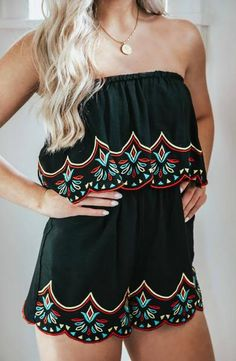 cdfa0bc0ccafa Get Spotted Embroidered Off The Shoulder Romper